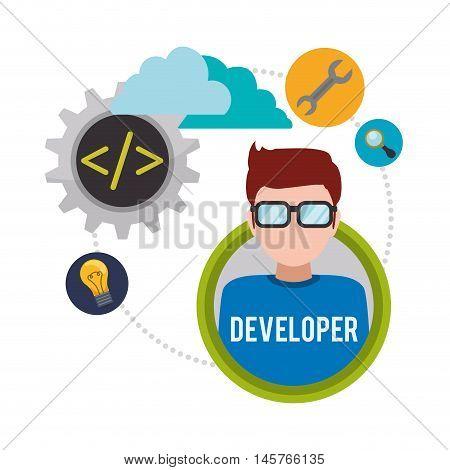 man boy glasses tools lupe bulb cloud developer web responsive development website programming icon set. Colorful design. Vector illustration