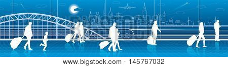 People with luggage rushing to the train, the scene at the railway station. City infrastructure panorama, train move on background, vector design art