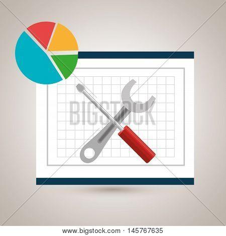 round statistics graphics board vector illustration eps 10