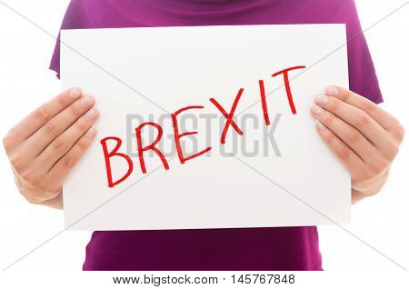 Girl holding white paper sheet with text BREXIT