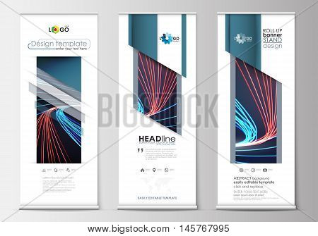 Set of roll up banner stands, flat design templates, abstract geometric style, modern business concept, corporate vertical vector flyers, flag banner layouts. Abstract lines background with color glowing neon streams, motion design vector.