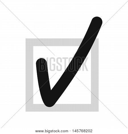 Checkmark in square icon in flat style isolated on white background. Click and choice symbol vector illustration