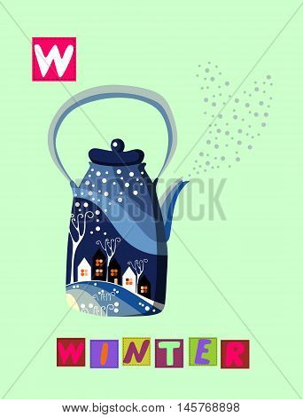 Tea History. Cute Cartoon English Alphabet With Colorful Image And Word. Kids Vector Abc On White Ba