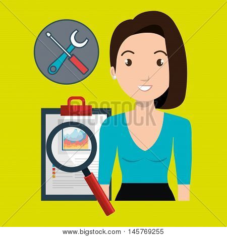 woman clipboard search tools vector illustration eps 10