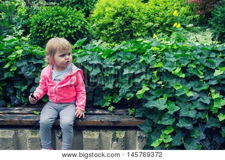 Little girl sitting in the garden sitting on the bench eating candy