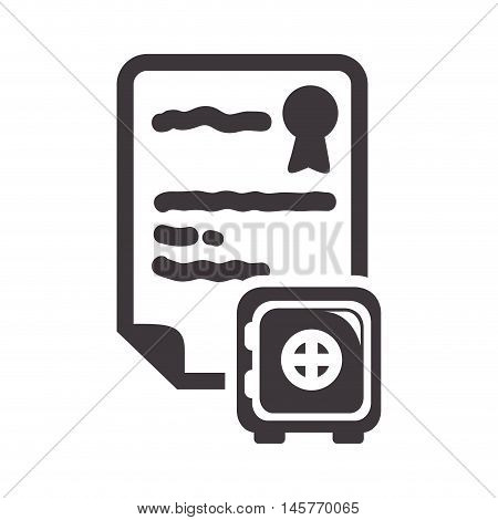strongbox insurance seal stamp protection security accident icon. Flat and Isolated design. Vector illustration