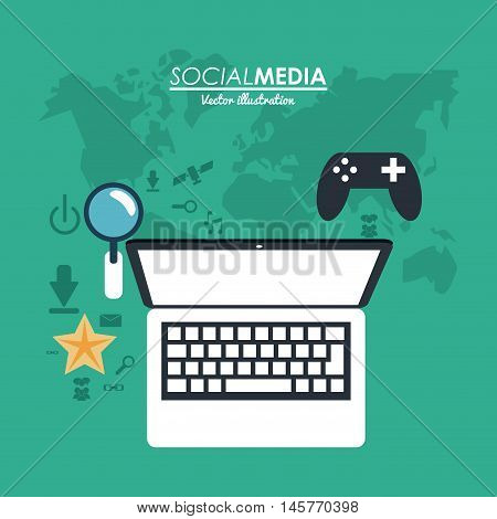laptop gadget lupe and game icon. Social media network communication and media icon set. Colorful design. Vector illustration