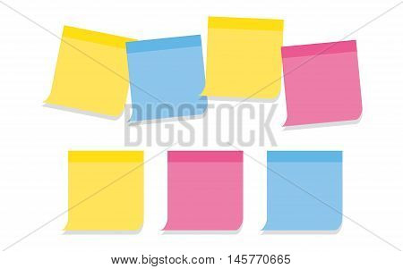 collection of memo note-papers in various colors on white background