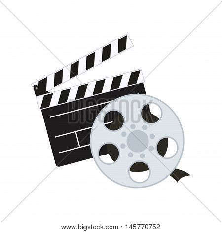 clapboard film reel cinema movie entertainment show icon. Flat and Isolated design. Vector illustration
