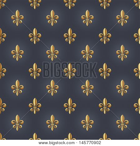 seamlessly tiling fleur-de-lis vector pattern, royal, luxury or fairytale background