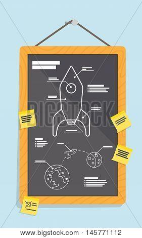 Cartoon blueprint of rocket ship. vector illustration