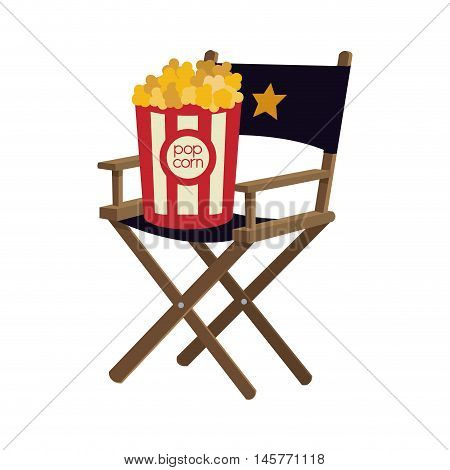 pop corn director chair film cinema movie entertainment show icon. Flat and Isolated design. Vector illustration