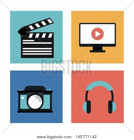 camera clapboard headphone tv and play icon. Video movie cinema and media theme. Colorful design. Vector illustration