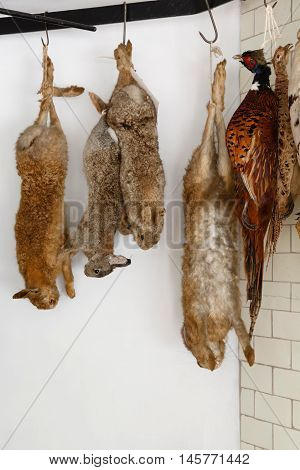 Game meat hanging to dry and age