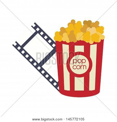 pop corn film strip cinema movie entertainment show icon. Flat and Isolated design. Vector illustration