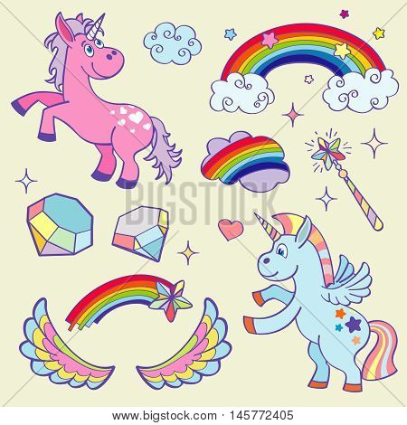 Cute magic unicorn, rainbow, fairy wings, magic wand, stars and crystals vector set. Pink pony and clouds illustration