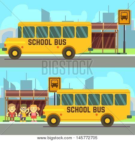 Schoolboy and schoolgirl waiting for yellow school bus vector illustration