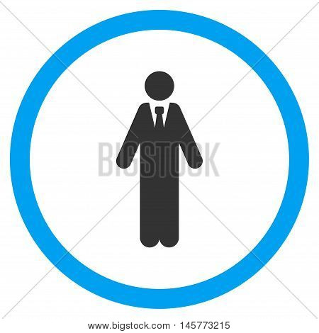 Clerk glyph bicolor rounded icon. Image style is a flat icon symbol inside a circle, blue and gray colors, white background.