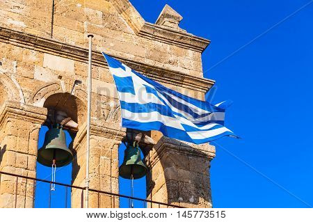 Waving Greek Flag On Church Of Saint Nicholas