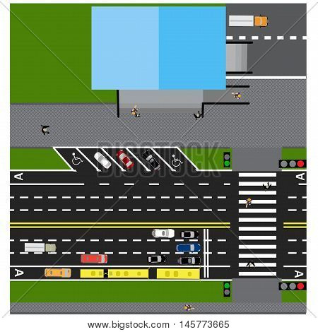 Plot road, highway, street, with the store. With different cars. Crossing and parking cards. Top view of the highway. Vector illustration