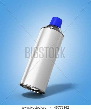 Bottle Spray Paint Or Automotive Grease White 3D Render On Blue Gradient Background