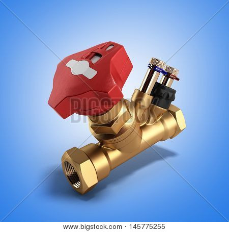 Crane Balancing Valve Without Draining For Plumbing 3D Rendering On Gradient Background