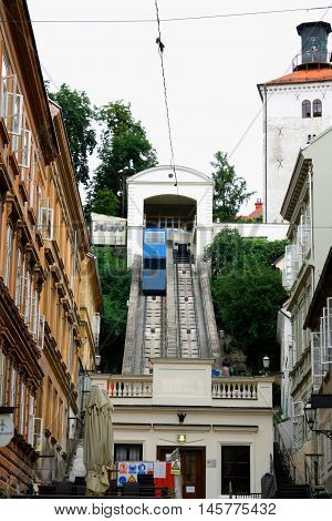 Zagreb, july 1. 2016: The Zagreb funicular is one of many tourist attractions in Zagreb