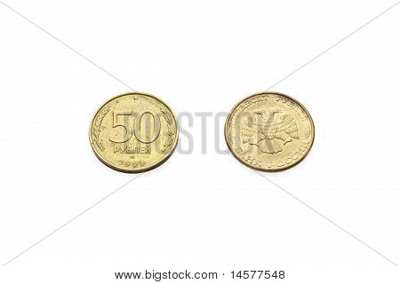 Head And Tail Of 50 Rubles  Russian Federation Coin Isolated On White