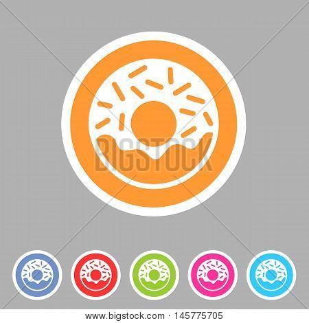Doughnut, donut icon flat web sign symbol logo label set