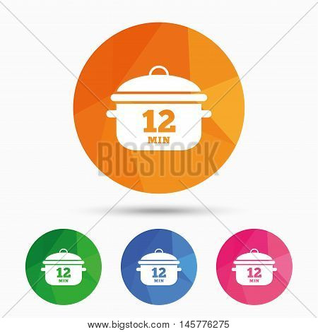 Boil 12 minutes. Cooking pan sign icon. Stew food symbol. Triangular low poly button with flat icon. Vector