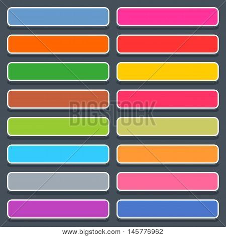 16 3d blank icon in flat style. Set 01 hover variant . Colored matted rectangle button with oval shadow on gray background. Vector illustration web internet design element saved in 8 eps