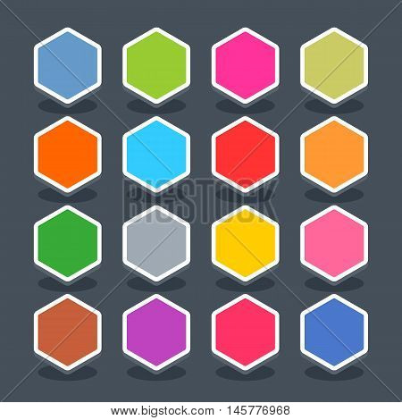 16 3d blank icon in flat style. Set 01 hover variant . Colored smooth hexagon button with oval shadow on gray background. Vector illustration web internet design element saved in 8 eps