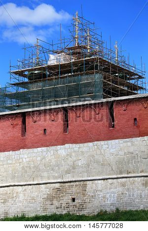 Restoration of the church behind ancient massive wall of Kremlin in Zaraysk Moscow region