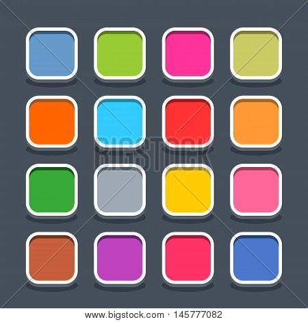 16 3d blank icon in flat style. Set 01 clicked variant . Colored satin rounded square button with oval shadow on gray background. Vector illustration web internet design element saved in 8 eps