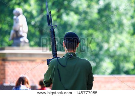 green dressed soldier on blurred background .