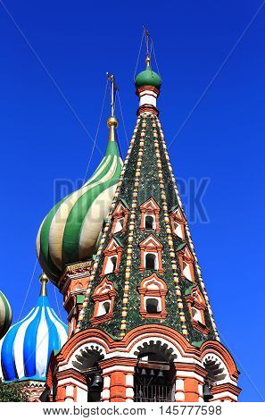 Onion and tent domes of Pokrovsky Cathedrall built in the sixteenth century in the Byzantine style
