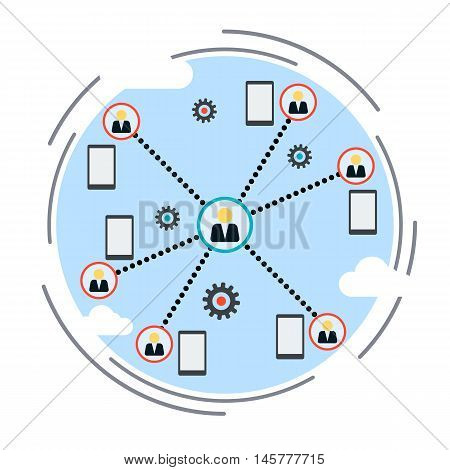 Workgroup, social network, co-working, distant work flat design style vector illustration