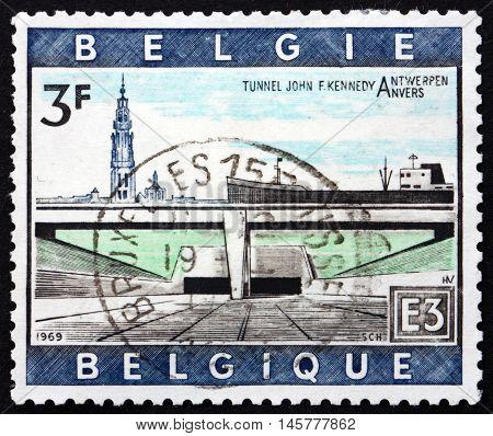 BELGIUM - CIRCA 1969: a stamp printed in the Belgium shows Kennedy Tunnel Under the Schelde Antwerp circa 1969