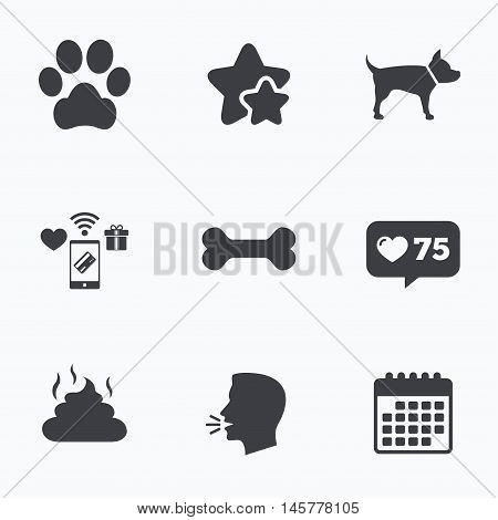 Pets icons. Dog paw and feces signs. Clean up after pets. Pets food. Flat talking head, calendar icons. Stars, like counter icons. Vector