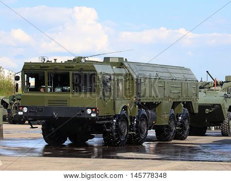 Russian tactical ballistic missile complex in a marching position