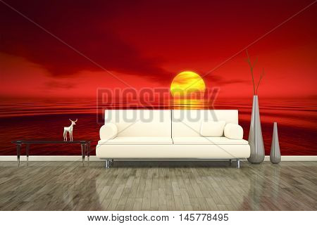 3D rendering of a sofa in front of a photo wall mural red sunset