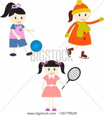 Sports Girls Players, Soccer Player, Skater, Tennis Player
