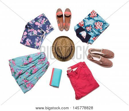 Beautiful clothes on a white background decomposed in a circle.