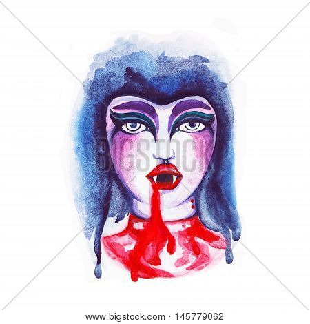 Watercolor illustration of a portrait vampire girl with bite marks on his neck. Red lips with sharp fangs and blood drops. Celebrate Halloween party.