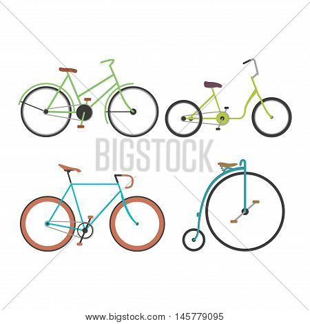 Vintage retro bicycle set and style antique sport old fashion vintage grunge bicycle flat vector. Vintage bicycle set riding bike transport flat vector illustration. Flat bikes, bicycles isolated