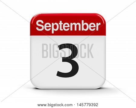 Calendar web button - The Third of September three-dimensional rendering 3D illustration