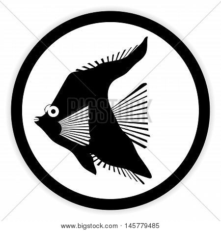 Tropic fish button on white background. Vector illustration.