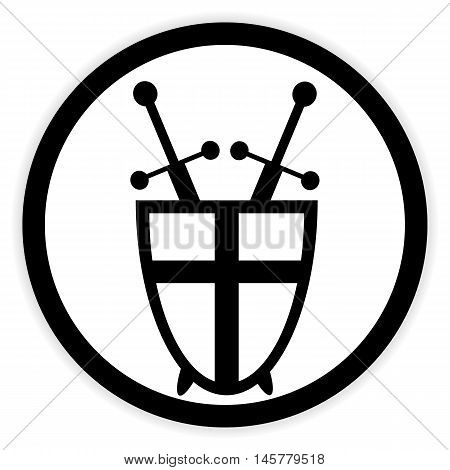 Shield and swords button on white background. Vector illustration.