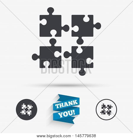 Puzzles pieces sign icon. Strategy symbol. Ingenuity test game. Flat icons. Buttons with icons. Thank you ribbon. Vector