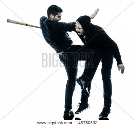 men krav maga fighters fighting isolated